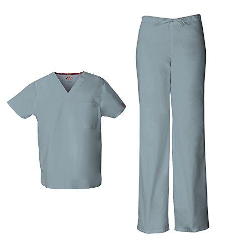 Dickies EDS Signature 83706 - Conjunto de exfoliante unisex con cuello en V y pantalón de uniforme con cordón 83006 (gris, talla XS, XS, XS)