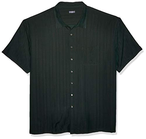 Van Heusen Men's Big and Tall Air Short Sleeve Button Down Poly Rayon Stripe Shirt, Green Zucchini, 3X-Large