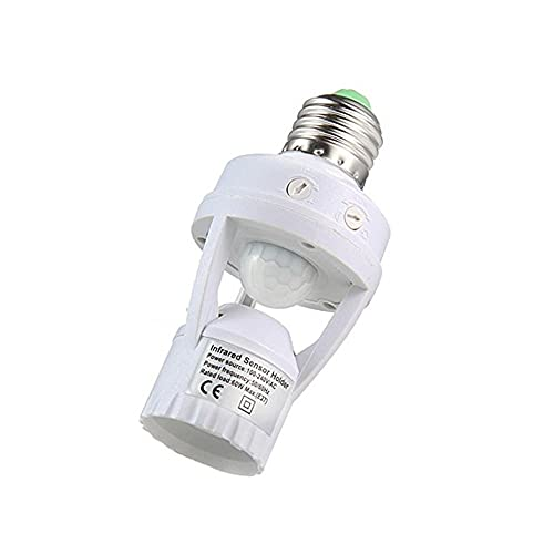 GHC LED Bombillas Lámpara LED Base E27 PIR Sensor DE Movimiento PORTENIDO 110 V - 220V con Interruptor de Control de luz Interruptor de Infrarrojos Bombilla de inducción (Color : Blanco)