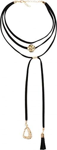 styleBREAKER Choker Kette mit Rosen Anhänger und verzierten Enden, Karabinerverschluss, Quaste und Ornament, Necklace, 3-reihig, Damen 05030027, Farbe:Schwarz-Gold