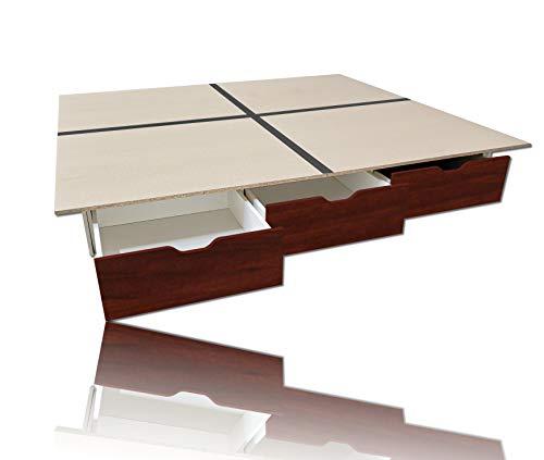 Schubladensockel WENGE inkl. Bodenplatten 200 x 220 cm für Wasserbetten