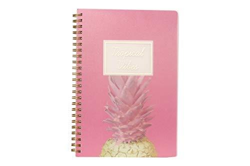 Caderno A5 Espiral Com Capa Pp Coleção Tropical - Tropical Vibes - Abacaxi Rosa Miolo:160 Páginas80G/M²PautadoBranco