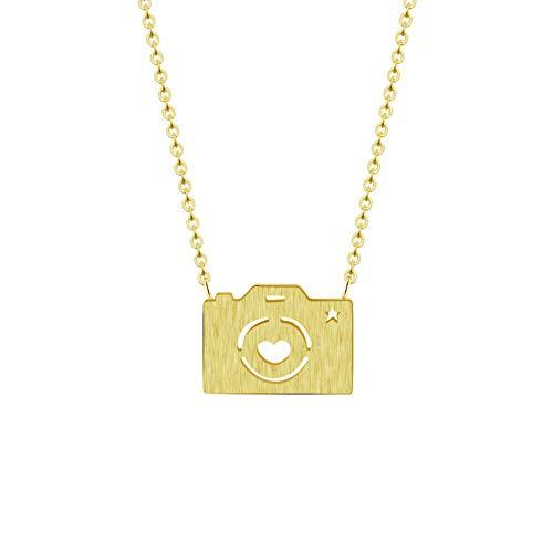 Collar FyaWTM, Joyas Colgante Fotografía Digital Moderna cámara Colgante Collar Mujeres Hombres joyería Acero Inoxidable Cadena de Oro Tomando Fotos