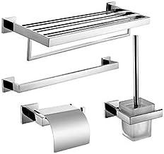 Bathroom Accessory Set,Towel Bar Toilet Brush Holder Creative Contemporary Stainless Steel + A Grade ABS Metal 4pcs - Bath...