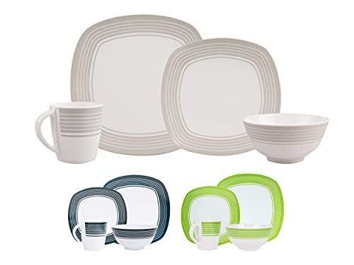 HEKERS Vajilla clásica de 100% melamina, color blanco/gris, juego de 24 piezas, para 6 personas, para picnic, camping, apto para lavavajillas