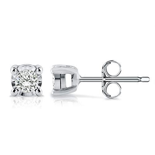 Diamond Wish Sterling Silver Round Diamond Stud Earrings (0.08 cttw, Good, I2-I3) 4-Prong Basket Set, Push-Back Clasps (0.333 Ct Diamond Earrings)
