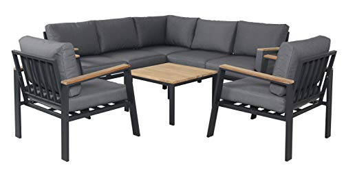 Pure Home & Garden Houston - Sofá esquinero de Aluminio de Teca, Incluye 2 sillones XL y Cojines Impermeables
