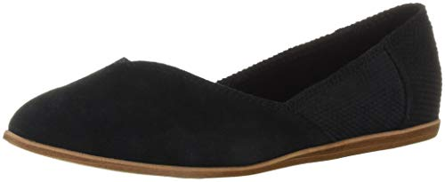 TOMS Women's Jutti Ballet Flat, Black Suede/Textured Velour Mix, 9 Medium US