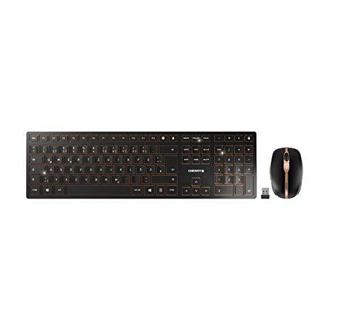 Cherry DW 9000 Slim, Rechargeable Wireless Desktop, Tastatur und Maus, USB, Funk, Bluetooth, Verschlüsselt, Schwarz