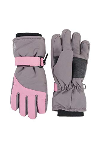 HEAT HOLDERS - Enfant Junior Hiver Chaud Polaire Impermeable Thermo Neige Ski Gants (5-10 ans, Pink/Grey)