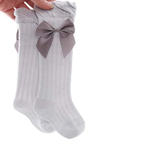 MYhose Calcetines Largos, Calcetines Altos de Malla Fina de Verano para niñas bebés, Calcetines antimosquitos por Encima de la Rodilla con Lazo Gris L
