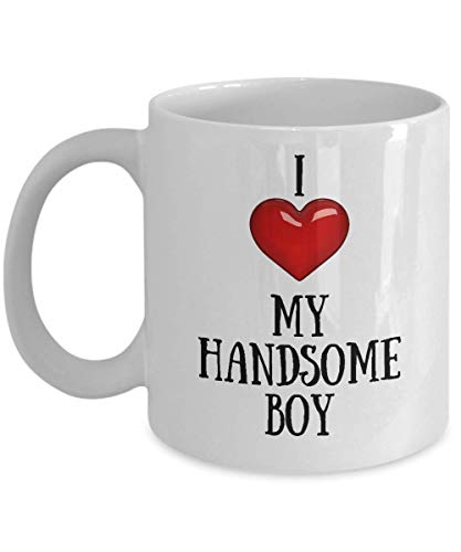N\A Amo a mi Chico Guapo Taza Novedad Corazón Taza de café Taza sarcástica Regalo Divertido de la mordaza