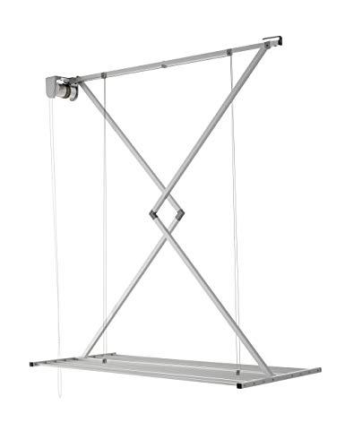 Foxydry Mini Deckenständer, vertikaler Wäscheständer, zusammenklappbar in Aluminium und Stahl (Grau, 120)
