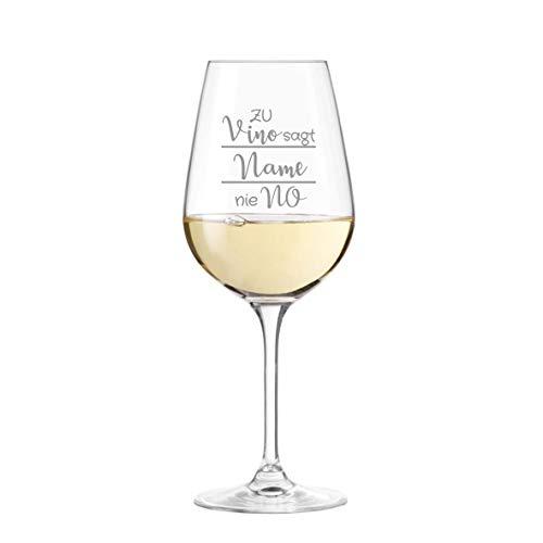 Leonardo '' zu Vino sag ich nie No '' Weinglas personalisiert mit Name - Weinliebhaber, Geschenke, Wunschname wählbar, Geburtstag