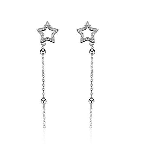 Pendientes de borlas de cinco puntas para mujer Joyas de plata Oorbellen Brincos