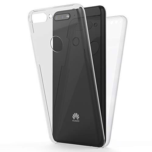 NALIA 360 Grad Handyhülle kompatibel mit Huawei Y7 2018, Full-Cover Silikon Bumper Hülle Bildschirmschutz Vorne Hardcase Hinten, R&um Schutzhülle Doppel-Schutz, Ganzkörper Hülle Dünn, Farbe:Transparent