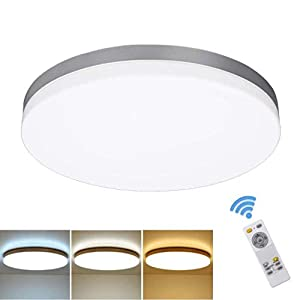 DLLT 24W Modern Dimmable Led Flush Mount Ceiling Light Fixture with Remote, 13 Inch Round Close to Ceiling Lights for Bedroom/Kitchen/Dining Room Lighting, Timing, 3000K-6000K 3 Light Color Changeable