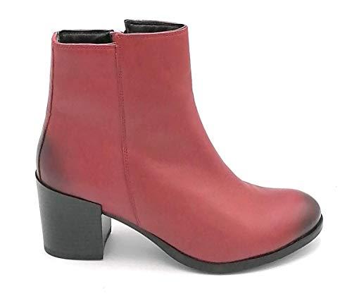 Cristin Milly9 enkellaarsjes van leer, rood, ritssluiting, hakbreedte: 8 cm, schoenmaat: 40 EU, kleur: rood