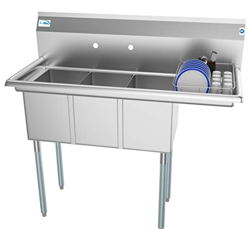 KoolMore 3 Compartment Stainless Steel Commercial Kitchen Sink with Drainboard - Bowl Size 10' x 14'...