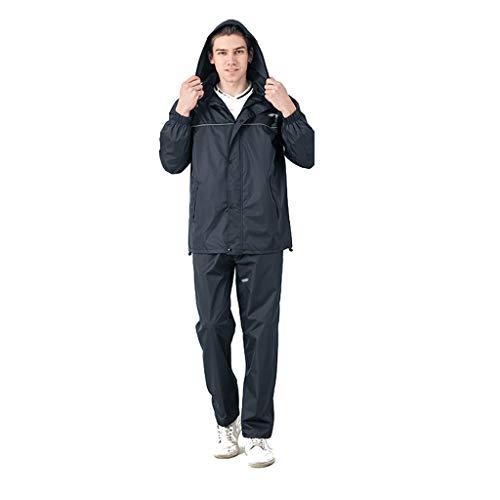 Chubasquero transpirable para hombre y mujer, con capucha, impermeable, impermeable y resistente al viento, para deportes completos (juego de chaqueta