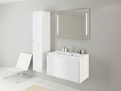 Badmöbel-Set Kabru - 90 cm breit - mit Glasfronten Weiß - Badezimmermöbel Waschtisch mit Unterschrank Spiegel mit Beleuchtung und Hochschrank Sieper Jokey