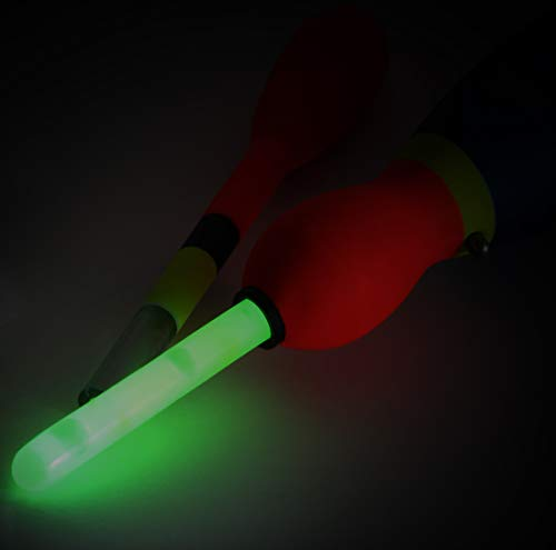 Storfisk fishing & more Set of 6 All-Round Throw Side Runner Floats 2-in-1 Snap Light Floats Made of Rohacell for Fishing Including 6 Glow Sticks, 8 Gramm