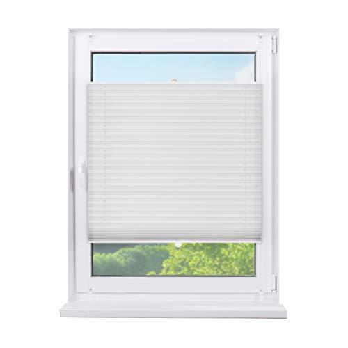 Fensterdecor Klemmfix Sichtschutz-Plissee, Fertig-Plissee mit Spannfeder in Weiß, Plissee zum Klemmen ohne Bohren, lichtdurchlässig und Blickdicht, 70 x 130 cm