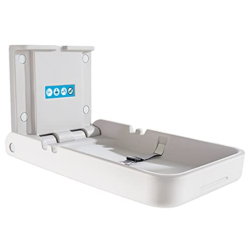 Vertical Baby Changing Station/Table and Sign, Wall Mounted Changing Table with Safety Strap, Diaper Changing Tables for Commercial Bathroom