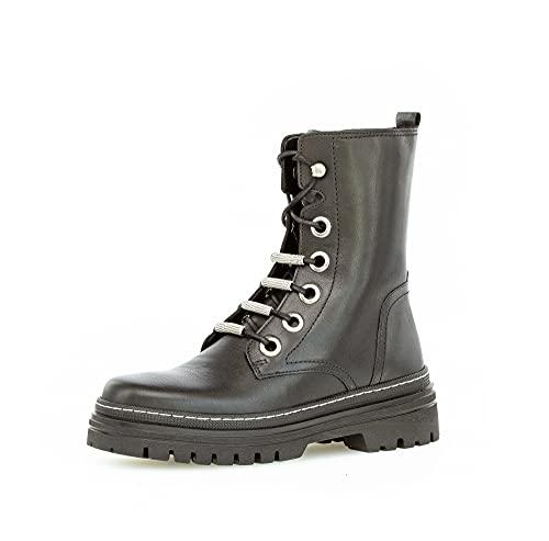 Gabor Damen Combat Boots, Frauen Biker- und Combat Boots,uebergangsschuhe,uebergangsstiefel,Women's,Woman,Lady,schwarz(wei./silb),36 EU / 3.5 UK