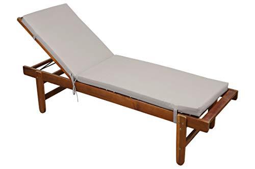 STOF Matelas/Bain de Soleil déhoussable, Couleur Lin, 60x190cm, 100% Microfibre, Attache à Clips (Transat en Bois Non-Inclus)