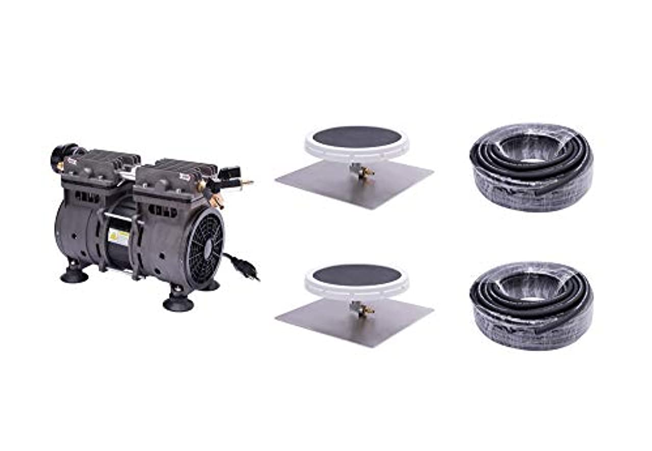 HQUA PAS20 Pond & Lake Aeration System for Up to 3 Acre, 1/2 HP Compressor + Two 100' Weighted Tubing + 2 Diffusers