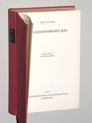 Jülicher, Adolf: Die Gleichnisreden Jesu. 2 Teile in 1 Bd. (2., unveränd. Abdr. d. 2., neubearb. Aufl.). Darmstadt, Wiss. Buchges., 1976. Gr.-8°. 2 Bll., VII, 328, VIII, 643 S. Leinen. (ISBN 3-534-02057-X)