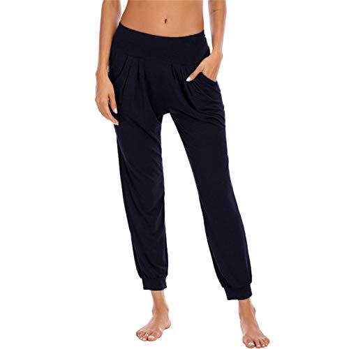 SotRong Pantalones harén de algodón para mujer, sueltos, para entrenamiento, yoga, pantalones cómodos y con cintura elástica con bolsillos