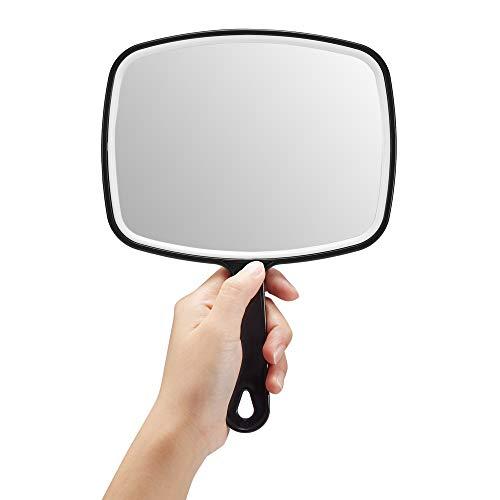 OMIRO Espejo de mano, extragrande, negro, con mango, cuadrado, negro, M