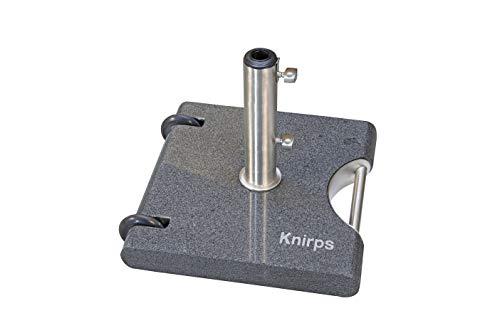 Knirps Trolley Granitsockel 40 kg – Hochwertiger Granitsockel mit Edelstahlrohr – Mit 2 Rollen und herausziehbarem Zuggriff