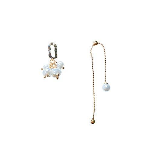 Assoluto charme classico orecchini dell'ago d'argento perla orecchini asimmetrici Letterario di temperamento pendente di orecchio ornamenti dell'orecchio Modo Semplice Orecchini Squisiti e Affascinant