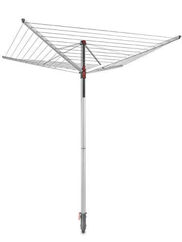 Vileda Sun-Lift Compact Wäschespinne, 40 m Trockenleinenlänge, höhenverstellbar von 1,55-1,72 m, Easy-Lift-System, inkl. 8 Kleiderbügelhalter, Bodenhülse, UV-beständige Schutzhülle, Eco-Verpackung