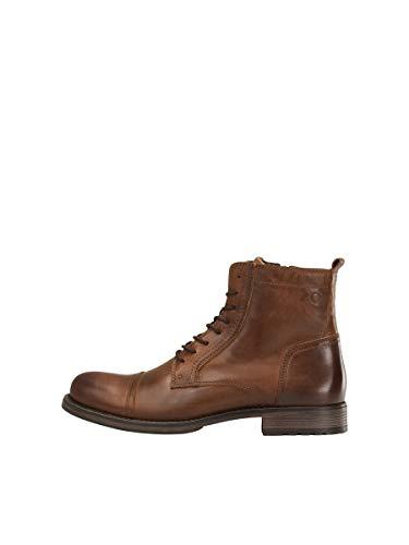 JACK & JONES Jfwrussel Leather 19, Botas Estilo Motero Hombre, Marrón (Cognac Cognac), 43 EU