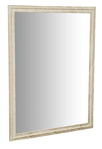Espejo de pared y colgante vertical/horizontal W90xDP3xH120 cm Acabado blanco antiguo
