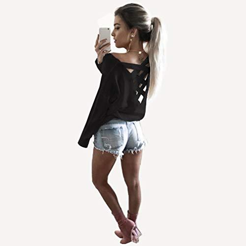 Lente En Zomer Mode Rug Cross Bandage Sexy Ronde Kraag Top Shirt Vrouw Dames Lange mouw Comfortabel Dagelijks WearBlack