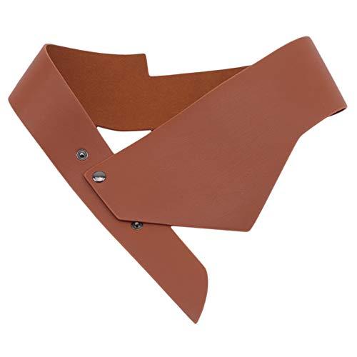 GLJYG Simple elegante cintura para mujeres piel sintética vintage monocolor cinturón decorativo ancho corsé cinturón vestido camiseta cintura cinturón regalo marrón