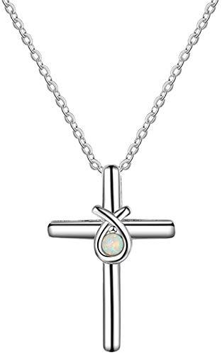 Colgante de ópalo , collar de plata 925 para mujer, diseño de cruz de ópalo blanco, joyería de moda, regalos de cumpleaños y boda para novia amante