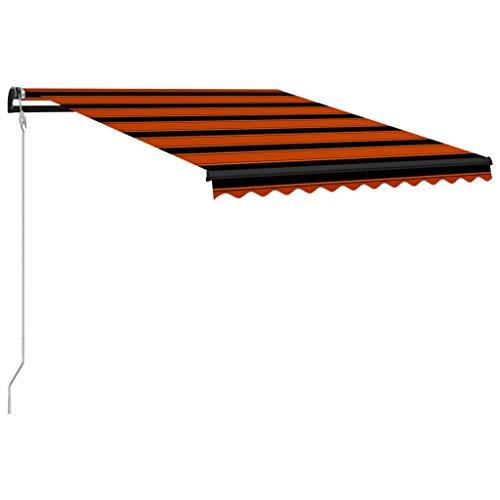 vidaXL Markise Einziehbar mit Windsensor LED Wasserabweisend Balkonmarkise Gelenkarmmarkise Sonnenschutz Terrasse Balkon Aluminium 300x250cm Orange Braun