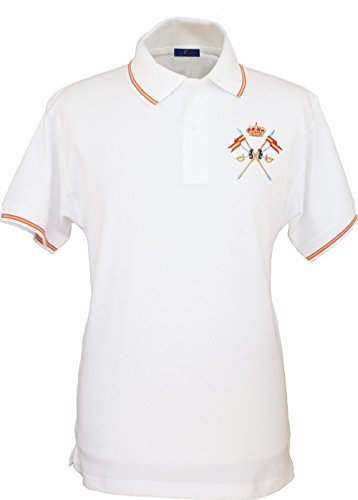 Pi2010 – Polo Caballería Española para Hombre, Color Blanco, Bandera España en Cuello y Mangas, 100% algodón, Talla XXL