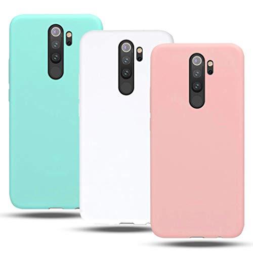 3X Funda para Xiaomi redmi Note 8 Pro Silicona CoverTp Carcasa redmi Note 8 Pro Rosa Bianco Verde Suave Flexible TPU Gel Ultra Fina Delgado Case Cubierta Protectora Funda redmi Note 8 Pro Antigolpes