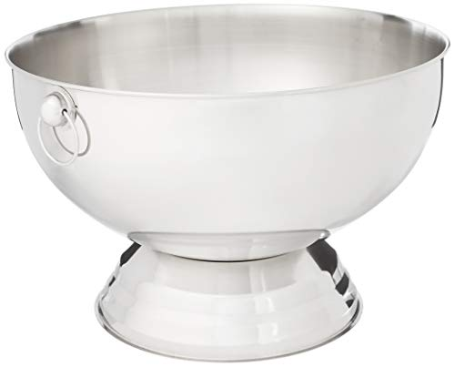 Winco SPB-35 Stainless Steel Punch Bowl with Handles, 3.5-Gallon