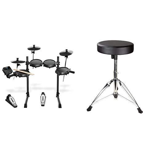 Alesis Turbo Mesh Kit- E Schlagzeug Elektronisch/7-teiliges E Drum Set mit Mesh-Heads, über 100 Sounds und 30 Play-Along-Tracks & RockJam verstellbare Trommel Stuhltrommel Stuhl mit gepolstertem Sitz