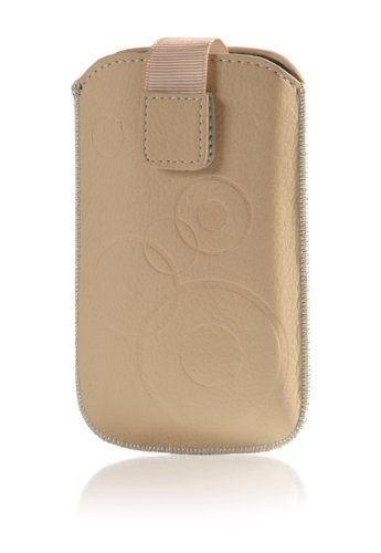 Handytasche Circle für HTC One M8 Handy Etui Schutz Hülle Cover Slim Case beige mit Klettverschluss