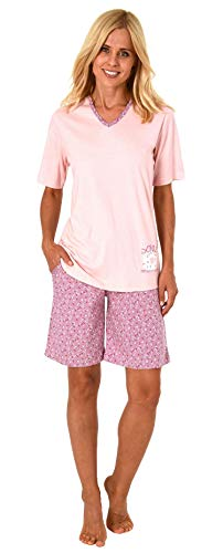 Süsser Damen Shorty-Pyjama Schlafanzug Kurzarm mit Donut als Motiv - 191 205 90 222, Farbe:Altrose, Größe2:44/46