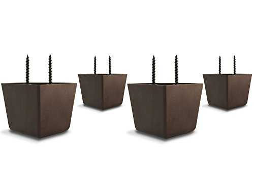 2 1/4' Tall/High Universal HDPE Plastic Furniture Triangle Sofa/Couch/Chair Legs with Screws - Set of 4